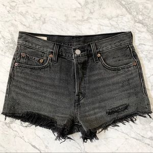 Levi's 501 High Waisted Black Cut Off Shorts Sz 25